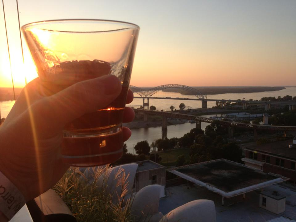 Madison Hotel's rooftop bar in Memphis at sunset
