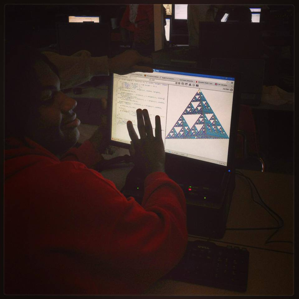 Jordan managed to make his Sierpinski triangle look like it's 3D